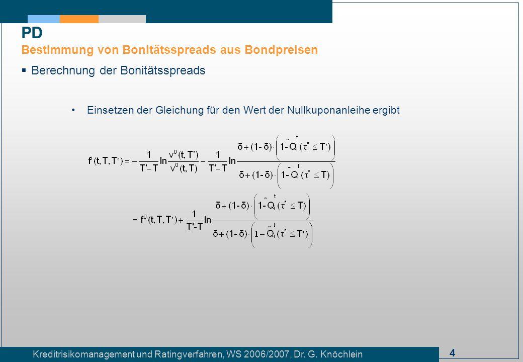 4 Kreditrisikomanagement und Ratingverfahren, WS 2006/2007, Dr. G. Knöchlein Berechnung der Bonitätsspreads Einsetzen der Gleichung für den Wert der N