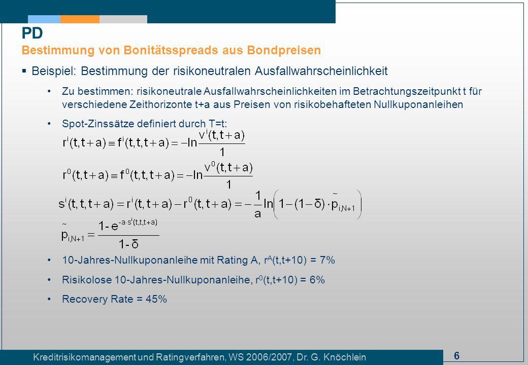 6 Kreditrisikomanagement und Ratingverfahren, WS 2006/2007, Dr. G. Knöchlein Beispiel: Bestimmung der risikoneutralen Ausfallwahrscheinlichkeit Zu bes