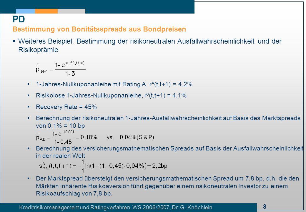 8 Kreditrisikomanagement und Ratingverfahren, WS 2006/2007, Dr. G. Knöchlein Weiteres Beispiel: Bestimmung der risikoneutralen Ausfallwahrscheinlichke