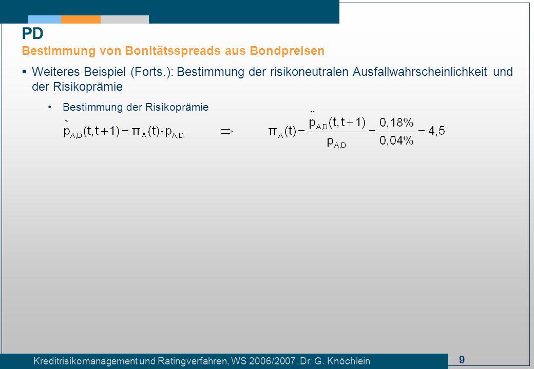 9 Kreditrisikomanagement und Ratingverfahren, WS 2006/2007, Dr. G. Knöchlein Weiteres Beispiel (Forts.): Bestimmung der risikoneutralen Ausfallwahrsch
