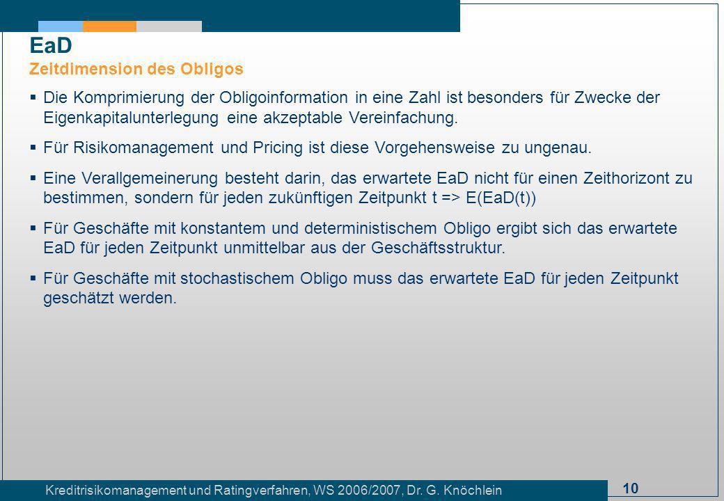 10 Kreditrisikomanagement und Ratingverfahren, WS 2006/2007, Dr. G. Knöchlein Die Komprimierung der Obligoinformation in eine Zahl ist besonders für Z