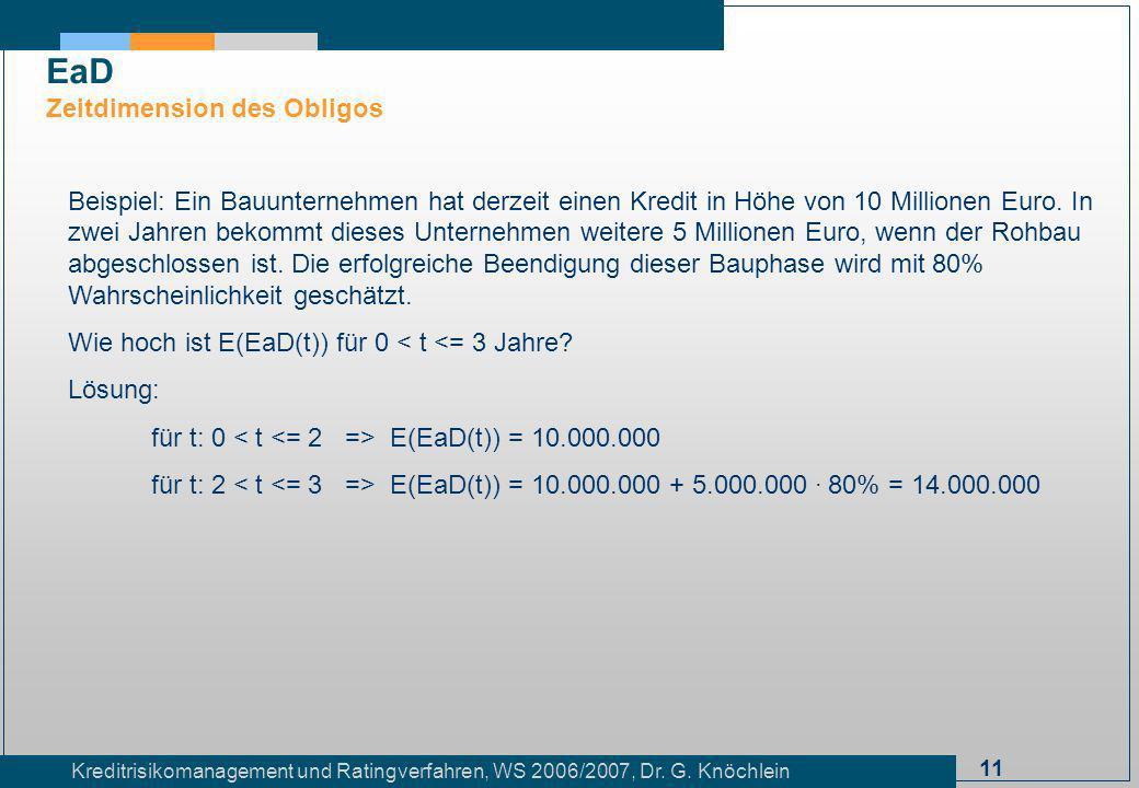11 Kreditrisikomanagement und Ratingverfahren, WS 2006/2007, Dr. G. Knöchlein Beispiel: Ein Bauunternehmen hat derzeit einen Kredit in Höhe von 10 Mil