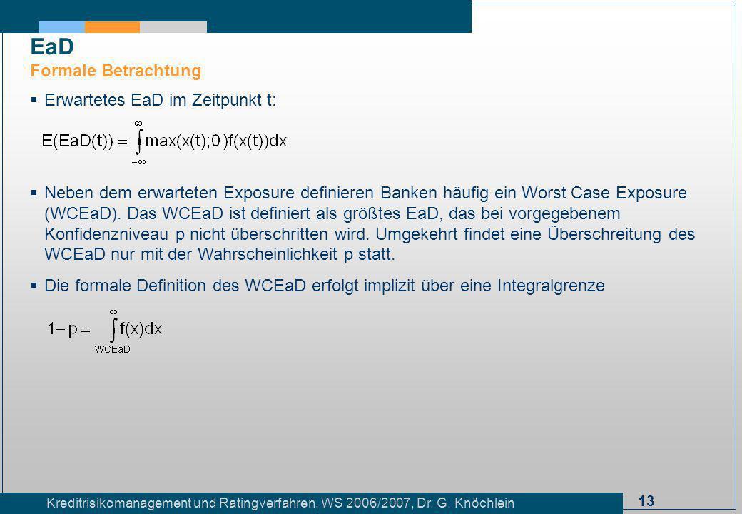 13 Kreditrisikomanagement und Ratingverfahren, WS 2006/2007, Dr. G. Knöchlein Erwartetes EaD im Zeitpunkt t: Neben dem erwarteten Exposure definieren