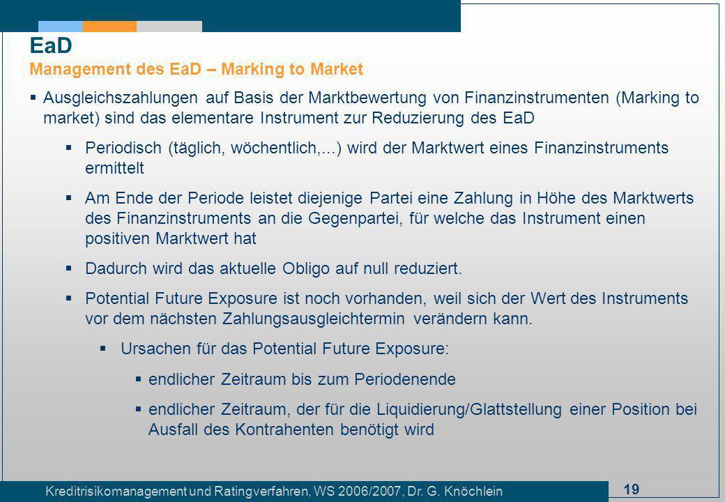 19 Kreditrisikomanagement und Ratingverfahren, WS 2006/2007, Dr. G. Knöchlein Ausgleichszahlungen auf Basis der Marktbewertung von Finanzinstrumenten
