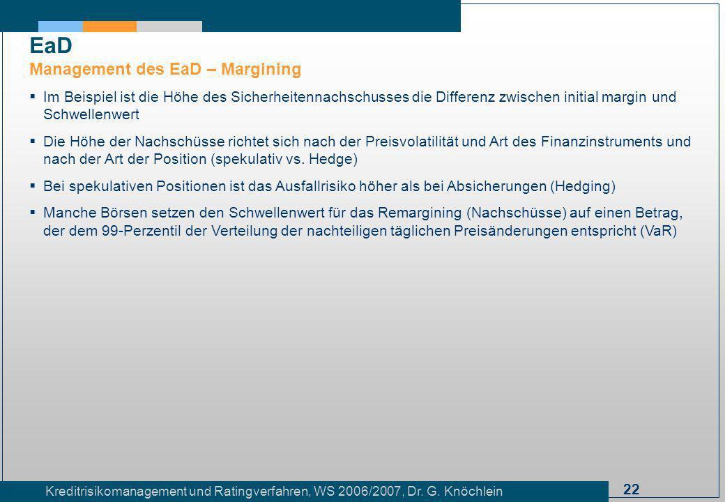 22 Kreditrisikomanagement und Ratingverfahren, WS 2006/2007, Dr. G. Knöchlein Im Beispiel ist die Höhe des Sicherheitennachschusses die Differenz zwis