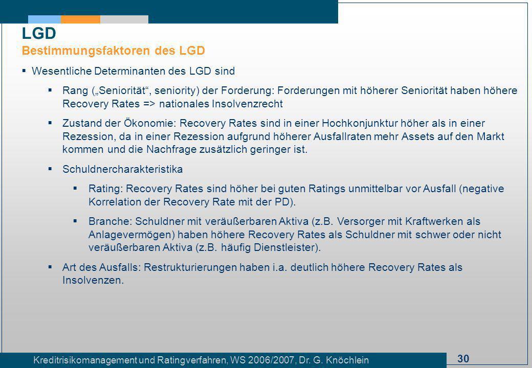 30 Kreditrisikomanagement und Ratingverfahren, WS 2006/2007, Dr. G. Knöchlein Wesentliche Determinanten des LGD sind Rang (Seniorität, seniority) der