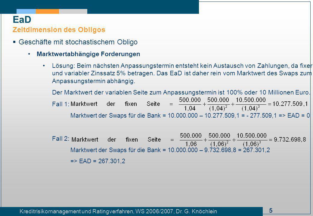 5 Kreditrisikomanagement und Ratingverfahren, WS 2006/2007, Dr. G. Knöchlein Geschäfte mit stochastischem Obligo Marktwertabhängige Forderungen Lösung