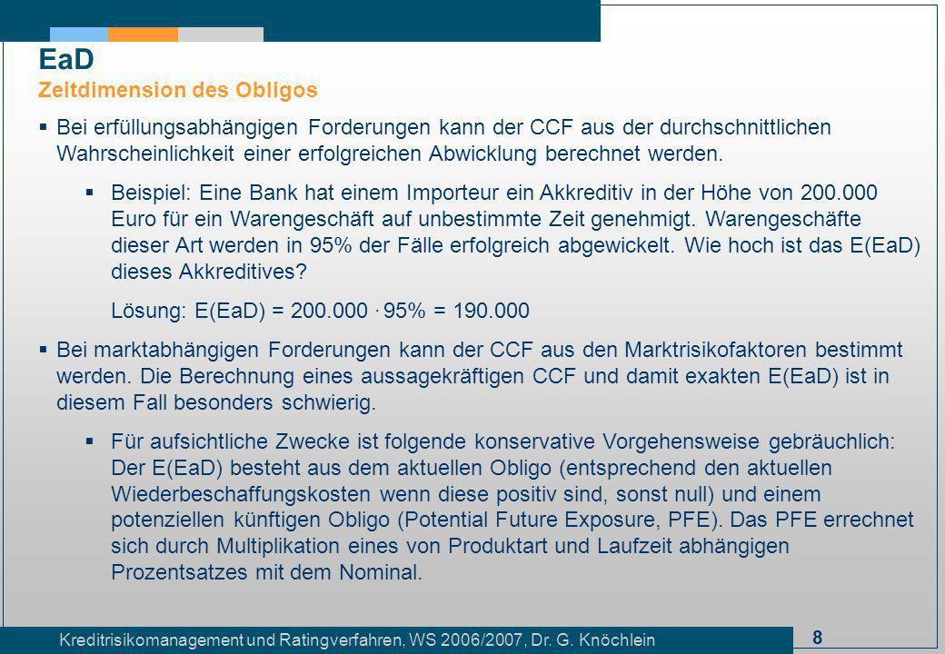 8 Kreditrisikomanagement und Ratingverfahren, WS 2006/2007, Dr. G. Knöchlein Bei erfüllungsabhängigen Forderungen kann der CCF aus der durchschnittlic