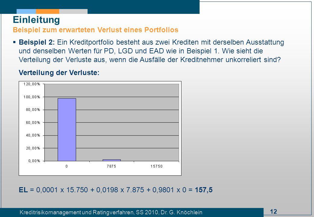 12 Kreditrisikomanagement und Ratingverfahren, SS 2010, Dr. G. Knöchlein Einleitung Beispiel zum erwarteten Verlust eines Portfolios Beispiel 2: Ein K