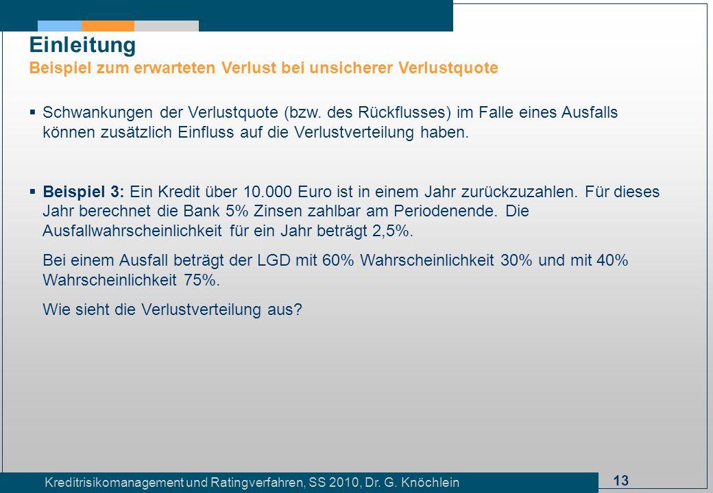 13 Kreditrisikomanagement und Ratingverfahren, SS 2010, Dr. G. Knöchlein Einleitung Beispiel zum erwarteten Verlust bei unsicherer Verlustquote Schwan