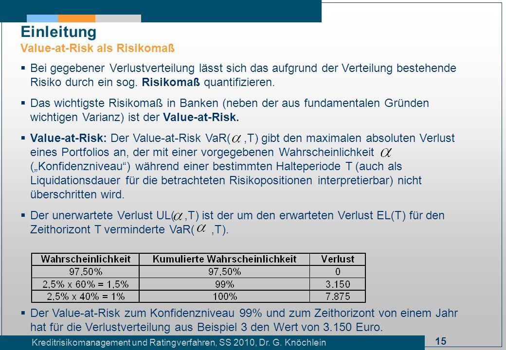 15 Kreditrisikomanagement und Ratingverfahren, SS 2010, Dr. G. Knöchlein Einleitung Value-at-Risk als Risikomaß Bei gegebener Verlustverteilung lässt