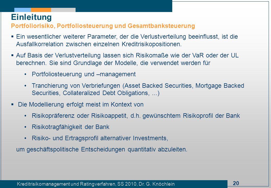 20 Kreditrisikomanagement und Ratingverfahren, SS 2010, Dr. G. Knöchlein Einleitung Portfoliorisiko, Portfoliosteuerung und Gesamtbanksteuerung Ein we