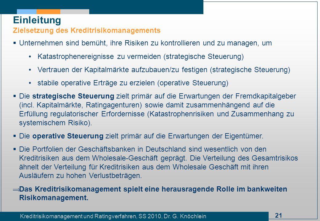 21 Kreditrisikomanagement und Ratingverfahren, SS 2010, Dr. G. Knöchlein Einleitung Zielsetzung des Kreditrisikomanagements Unternehmen sind bemüht, i