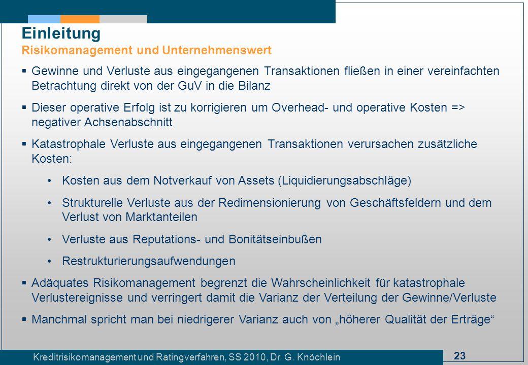 23 Kreditrisikomanagement und Ratingverfahren, SS 2010, Dr. G. Knöchlein Einleitung Risikomanagement und Unternehmenswert Gewinne und Verluste aus ein
