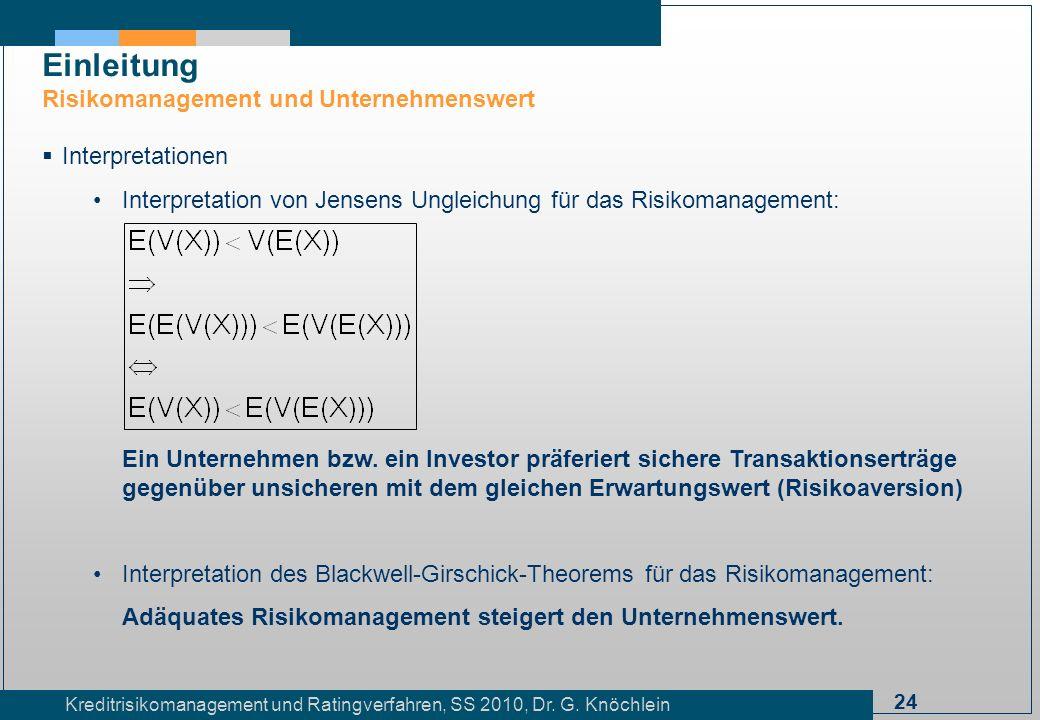 24 Kreditrisikomanagement und Ratingverfahren, SS 2010, Dr. G. Knöchlein Einleitung Risikomanagement und Unternehmenswert Interpretationen Interpretat