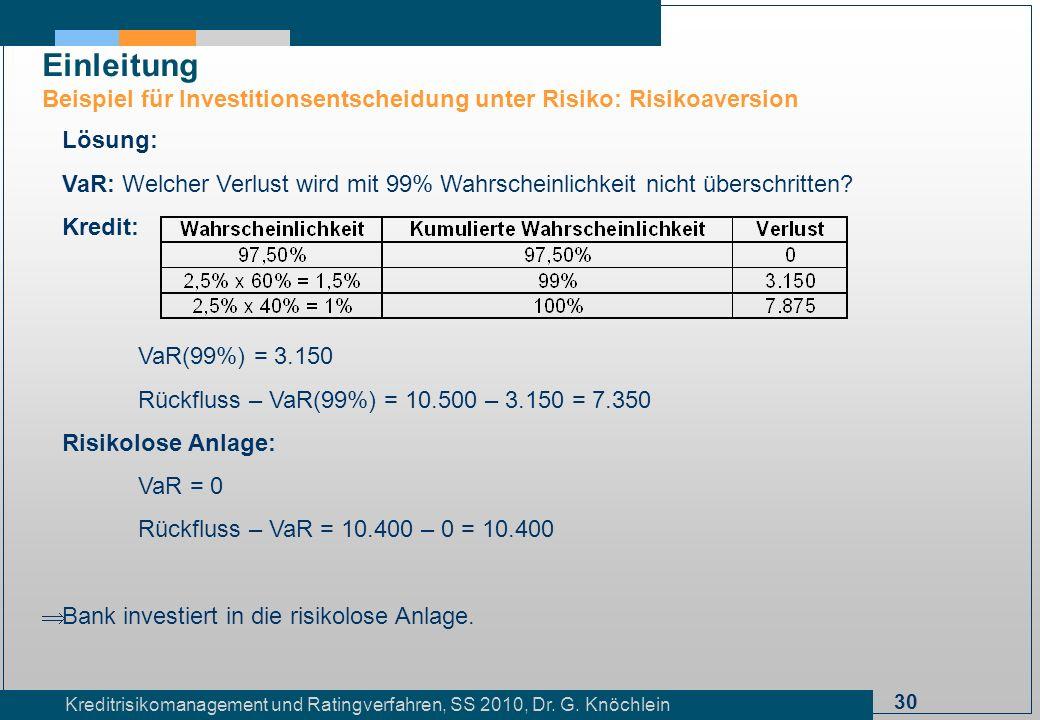 30 Kreditrisikomanagement und Ratingverfahren, SS 2010, Dr. G. Knöchlein Einleitung Beispiel für Investitionsentscheidung unter Risiko: Risikoaversion