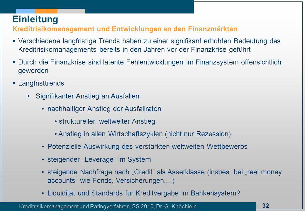 32 Kreditrisikomanagement und Ratingverfahren, SS 2010, Dr. G. Knöchlein Einleitung Kreditrisikomanagement und Entwicklungen an den Finanzmärkten Vers
