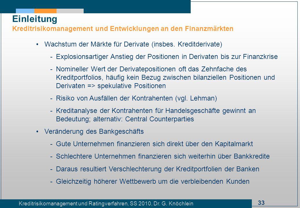 33 Kreditrisikomanagement und Ratingverfahren, SS 2010, Dr. G. Knöchlein Einleitung Kreditrisikomanagement und Entwicklungen an den Finanzmärkten Wach
