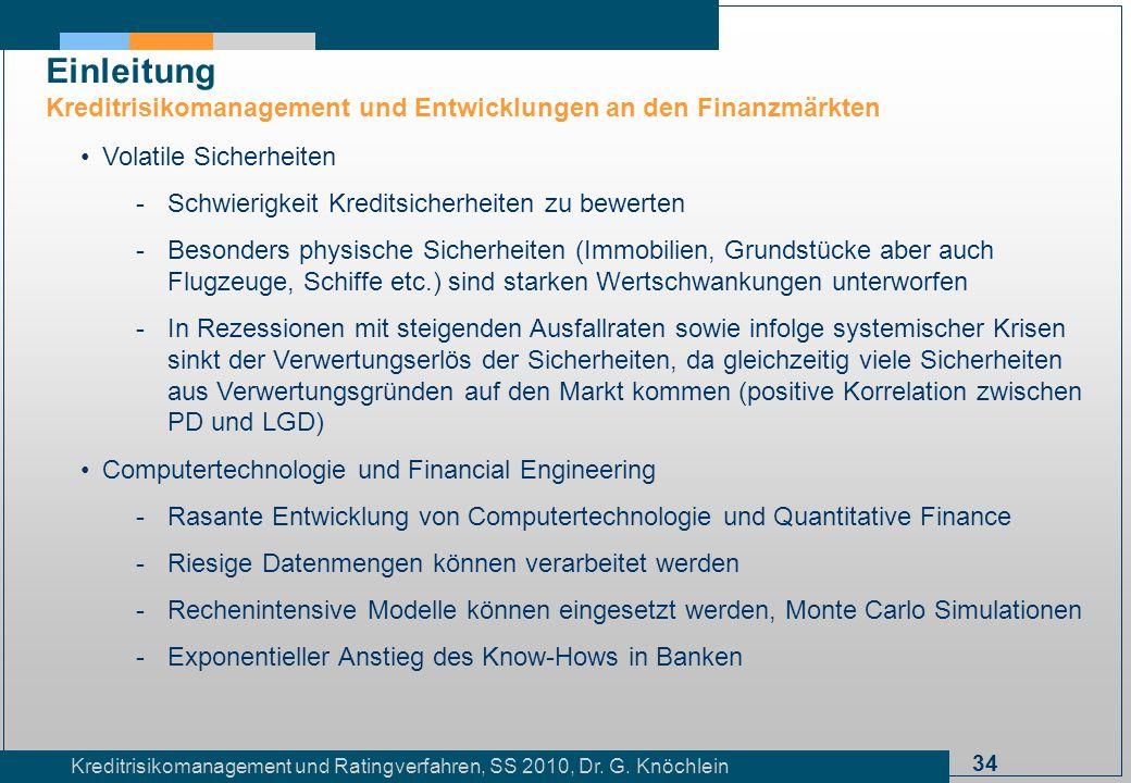 34 Kreditrisikomanagement und Ratingverfahren, SS 2010, Dr. G. Knöchlein Einleitung Kreditrisikomanagement und Entwicklungen an den Finanzmärkten Vola