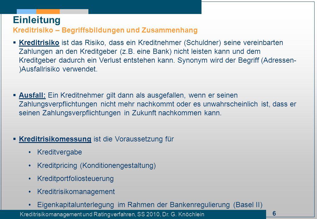 6 Kreditrisikomanagement und Ratingverfahren, SS 2010, Dr. G. Knöchlein Einleitung Kreditrisiko – Begriffsbildungen und Zusammenhang Kreditrisiko ist