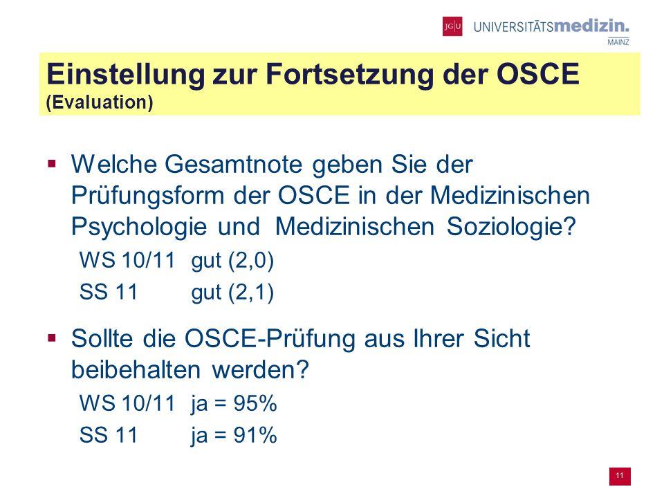 Einstellung zur Fortsetzung der OSCE (Evaluation) Welche Gesamtnote geben Sie der Prüfungsform der OSCE in der Medizinischen Psychologie und Medizinischen Soziologie.