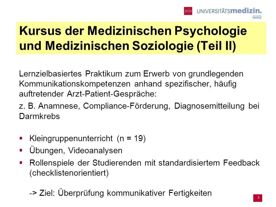 3 Kursus der Medizinischen Psychologie und Medizinischen Soziologie (Teil II) Lernzielbasiertes Praktikum zum Erwerb von grundlegenden Kommunikationskompetenzen anhand spezifischer, häufig auftretender Arzt-Patient-Gespräche: z.