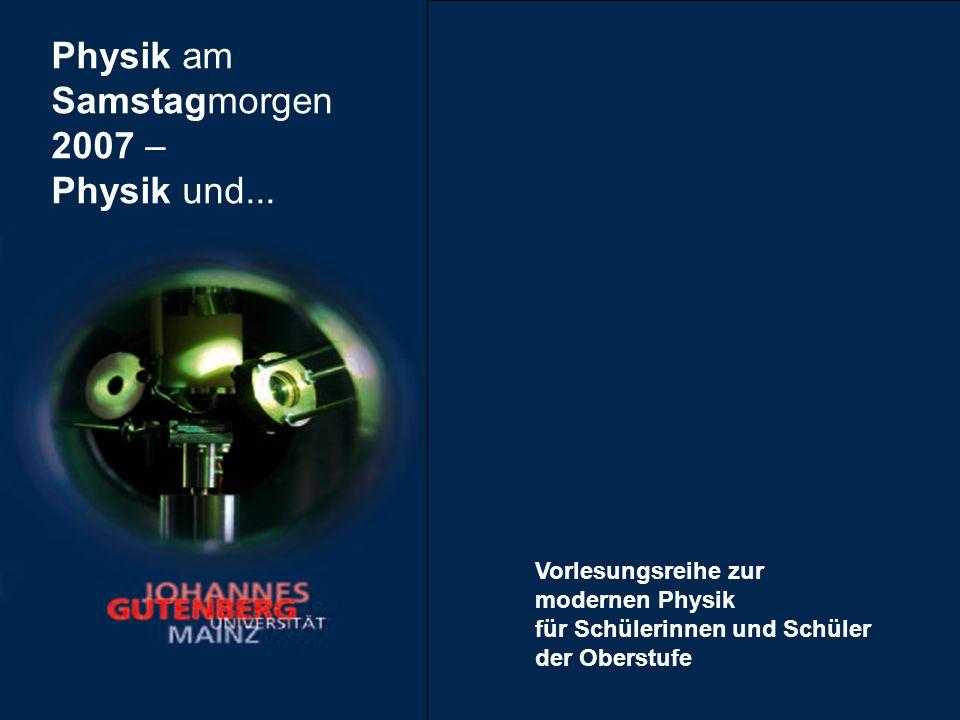 Das Veranstaltungsprogramm Samstag · 21.April 2007 · 9:30 Uhr Was ist Physik.