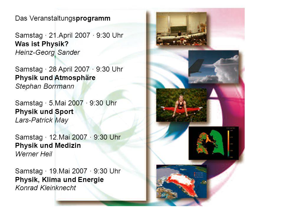 Das Veranstaltungsprogramm Samstag · 21.April 2007 · 9:30 Uhr Was ist Physik? Heinz-Georg Sander Samstag · 28 April 2007 · 9:30 Uhr Physik und Atmosph
