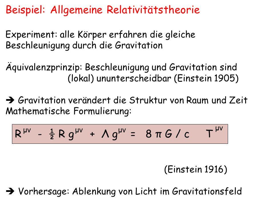 Ablenkung von Sternenlicht im Gravitationsfeld der Sonne Θ ErdeMond Sonne Stern klassische Rechnung: Θ = 0,87 jedoch ART: Θ = 1,75 ( Einstein 1916) bestätigt durch Eddington bei Sonnenfinsternis 1919