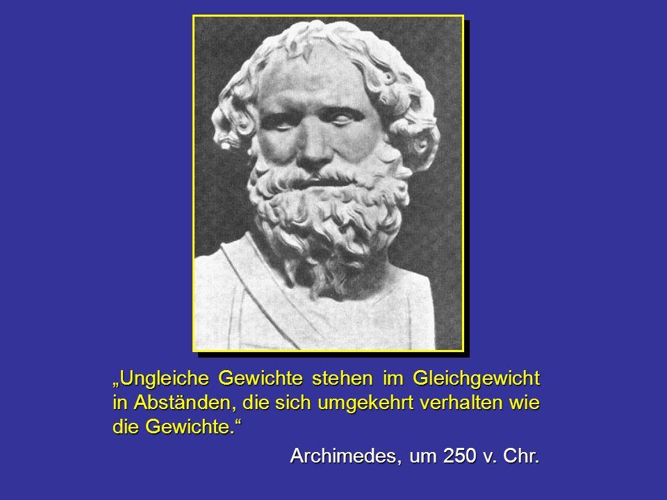 Ungleiche Gewichte stehen im Gleichgewicht in Abständen, die sich umgekehrt verhalten wie die Gewichte. Archimedes, um 250 v. Chr.