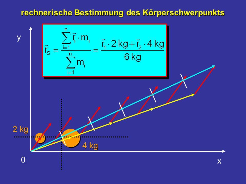 y x 2 kg 4 kg 0 rechnerische Bestimmung des Körperschwerpunkts