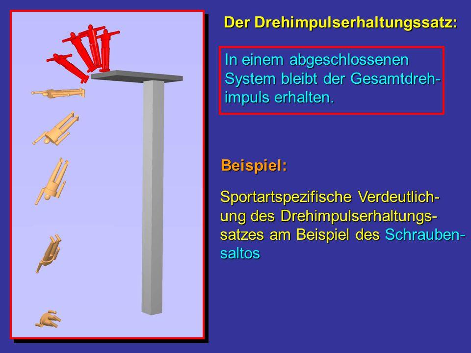 Sportartspezifische Verdeutlich- ung des Drehimpulserhaltungs- satzes am Beispiel des Schrauben- saltos Der Drehimpulserhaltungssatz: Beispiel: In ein