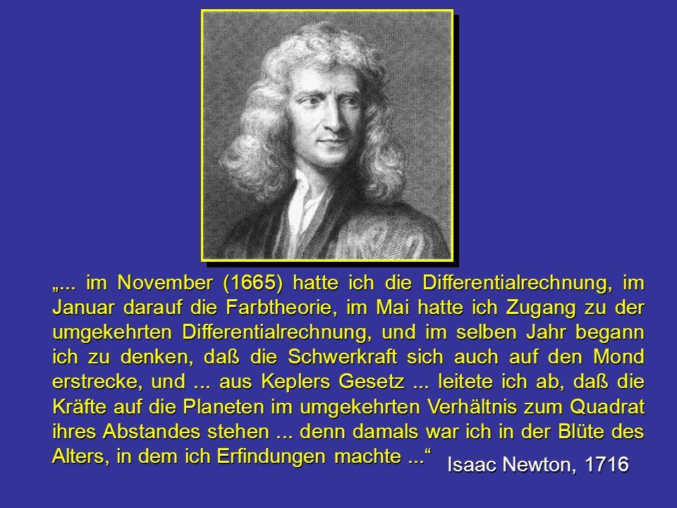 ... im November (1665) hatte ich die Differentialrechnung, im Januar darauf die Farbtheorie, im Mai hatte ich Zugang zu der umgekehrten Differentialre