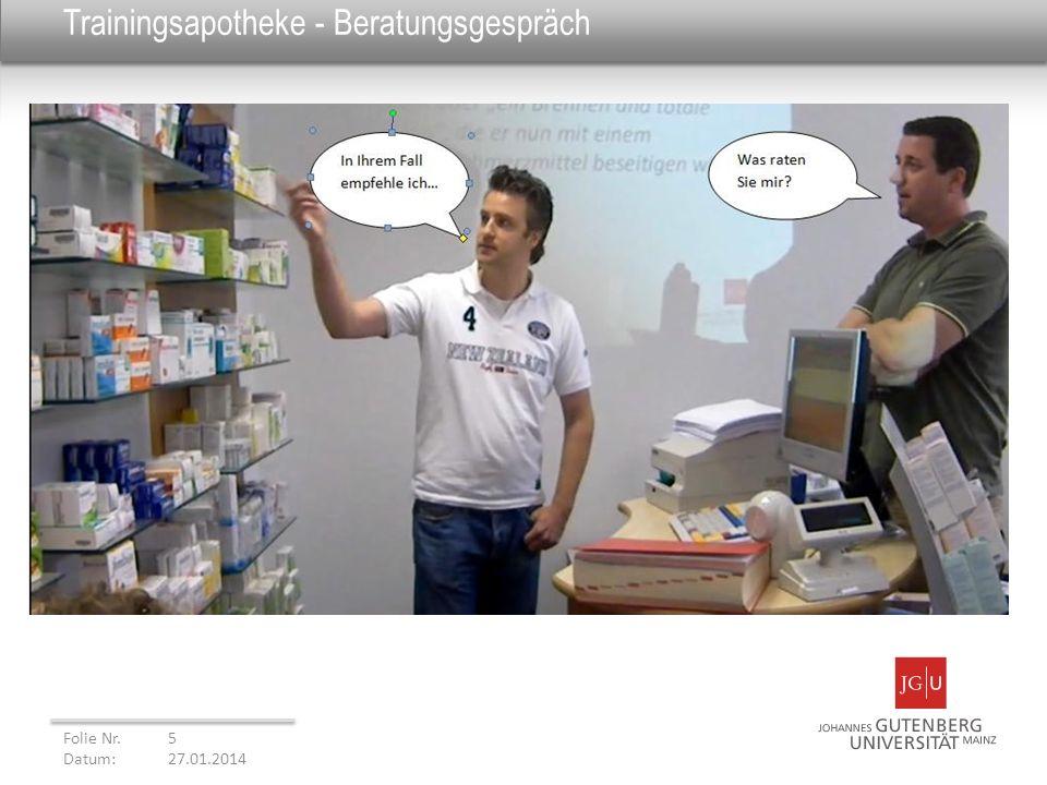 Trainingsapotheke - Beratungsgespräch Folie Nr. 5 Datum: 27.01.2014