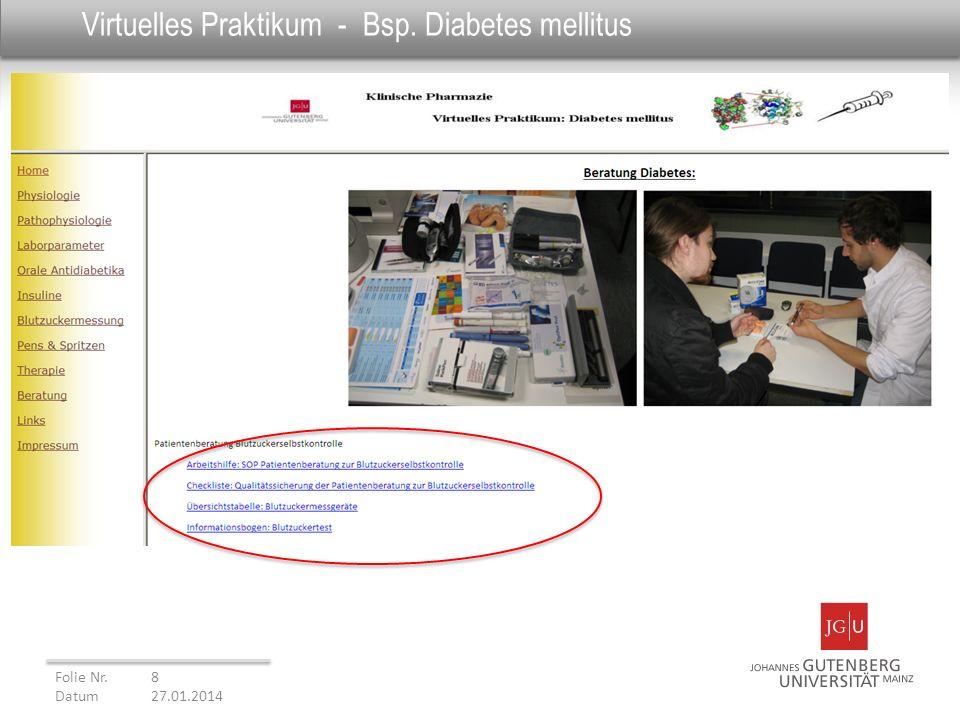 Virtuelles Praktikum - Bsp. Diabetes mellitus Folie Nr. 8 Datum27.01.2014