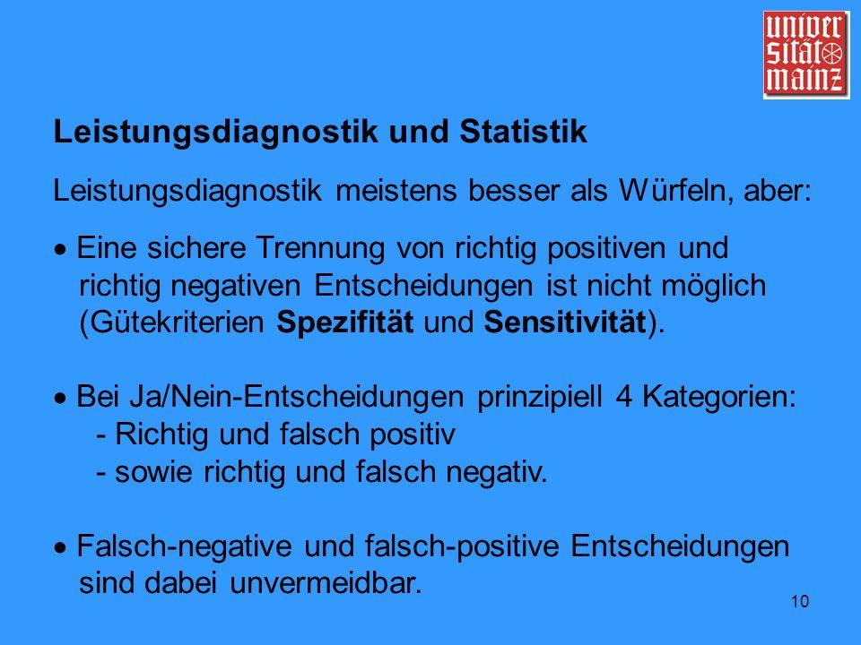10 Leistungsdiagnostik und Statistik Leistungsdiagnostik meistens besser als Würfeln, aber: Eine sichere Trennung von richtig positiven und richtig ne