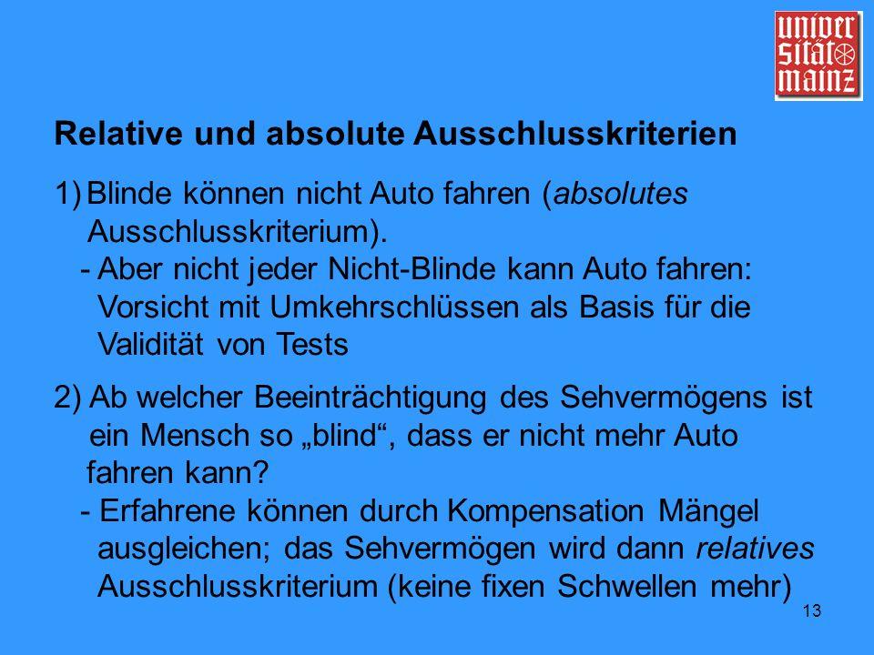 13 Relative und absolute Ausschlusskriterien 1)Blinde können nicht Auto fahren (absolutes Ausschlusskriterium). - Aber nicht jeder Nicht-Blinde kann A