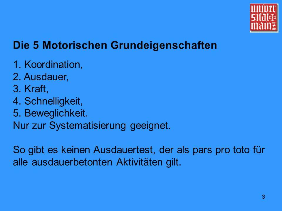 3 Die 5 Motorischen Grundeigenschaften 1. Koordination, 2. Ausdauer, 3. Kraft, 4. Schnelligkeit, 5. Beweglichkeit. Nur zur Systematisierung geeignet.