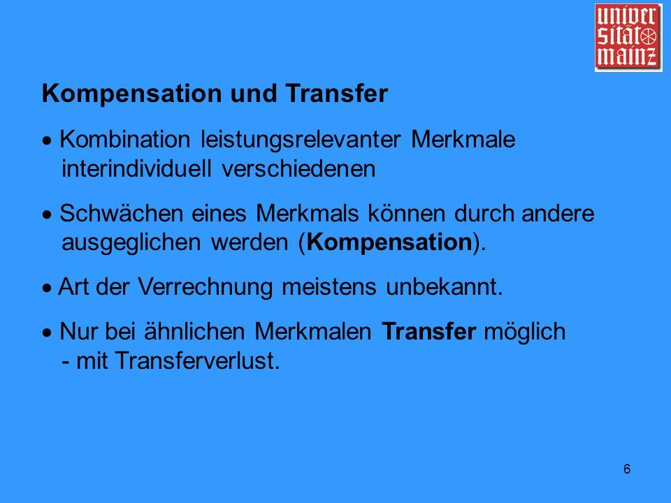 6 Kompensation und Transfer Kombination leistungsrelevanter Merkmale interindividuell verschiedenen Schwächen eines Merkmals können durch andere ausge