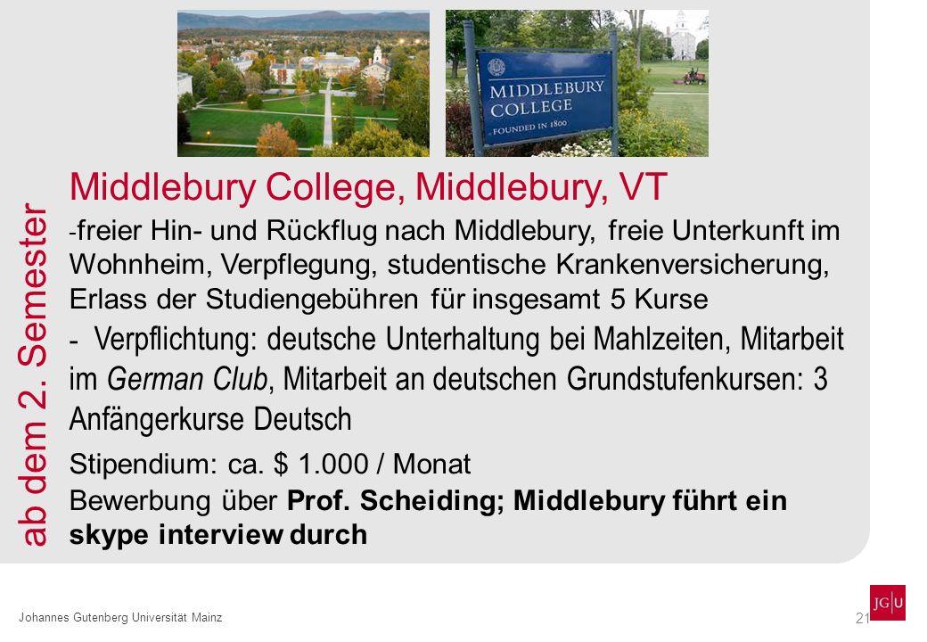 21 Johannes Gutenberg Universität Mainz Middlebury College, Middlebury, VT - freier Hin- und Rückflug nach Middlebury, freie Unterkunft im Wohnheim, V