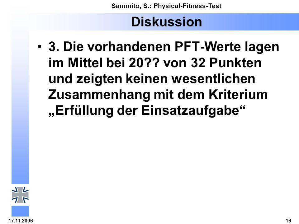 17.11.200616 Sammito, S.: Physical-Fitness-Test Diskussion 3. Die vorhandenen PFT-Werte lagen im Mittel bei 20?? von 32 Punkten und zeigten keinen wes
