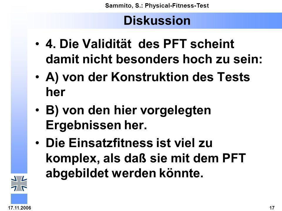 17.11.200617 Sammito, S.: Physical-Fitness-Test Diskussion 4. Die Validität des PFT scheint damit nicht besonders hoch zu sein: A) von der Konstruktio