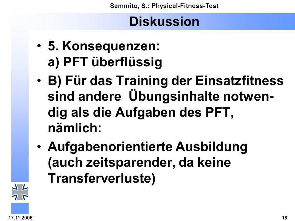 17.11.200618 Sammito, S.: Physical-Fitness-Test Diskussion 5. Konsequenzen: a) PFT überflüssig B) Für das Training der Einsatzfitness sind andere Übun