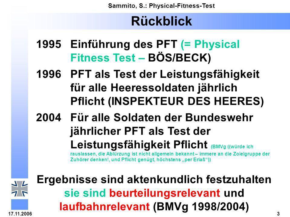 17.11.20064 Sammito, S.: Physical-Fitness-Test Aufgaben des Physical-Fitness-Test 5 Aufgaben 4x9m-Pendellauf (auf Zeit) Anzahl Sit-up´s in 40 s Anzahl Liegestütze in 40 s Standweitsprung (erreichte Weite, 3 Versuche) 12-min-Lauf (erreichte Weite)