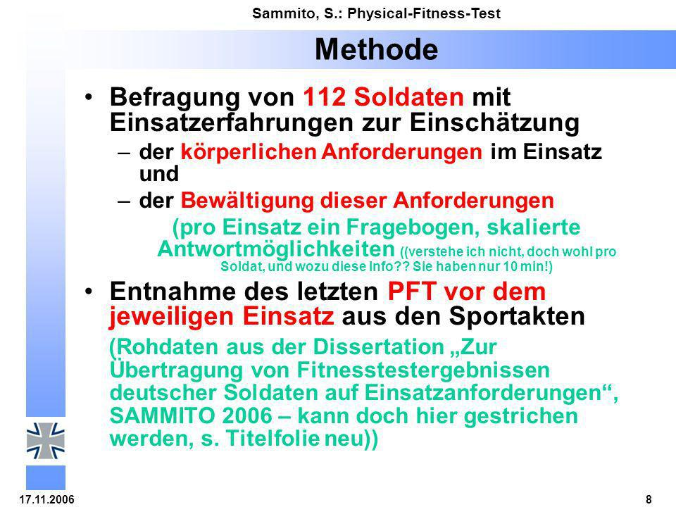 17.11.20068 Sammito, S.: Physical-Fitness-Test Methode Befragung von 112 Soldaten mit Einsatzerfahrungen zur Einschätzung –der körperlichen Anforderun