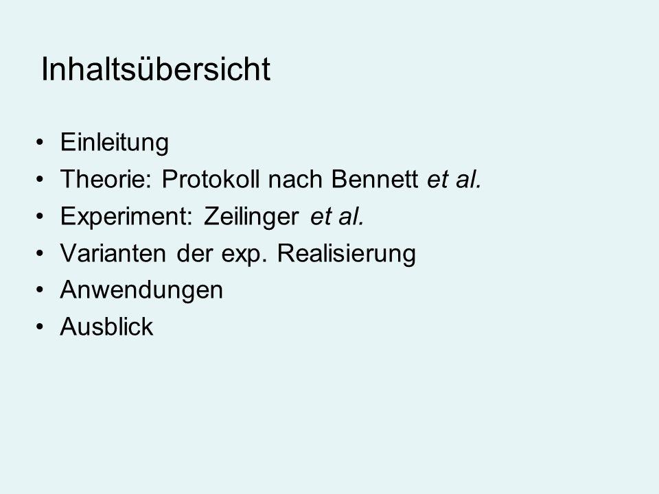 Inhaltsübersicht Einleitung Theorie: Protokoll nach Bennett et al. Experiment: Zeilinger et al. Varianten der exp. Realisierung Anwendungen Ausblick