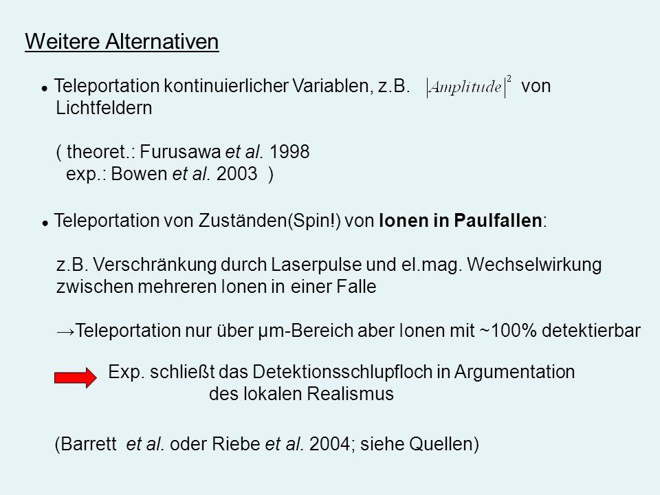 Weitere Alternativen Teleportation von Zuständen(Spin!) von Ionen in Paulfallen: z.B. Verschränkung durch Laserpulse und el.mag. Wechselwirkung zwisch