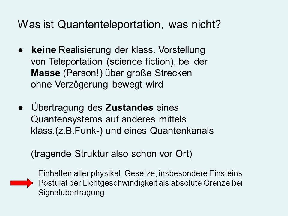 Was ist Quantenteleportation, was nicht? keine Realisierung der klass. Vorstellung von Teleportation (science fiction), bei der Masse (Person!) über g