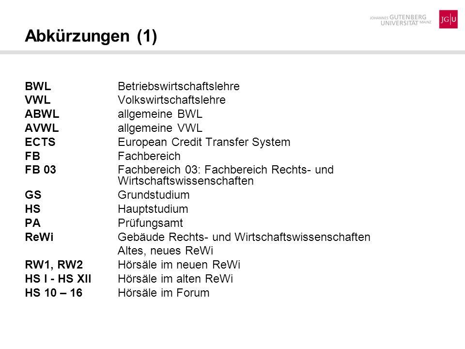 Abkürzungen (1) BWL Betriebswirtschaftslehre VWLVolkswirtschaftslehre ABWLallgemeine BWL AVWLallgemeine VWL ECTS European Credit Transfer System FBFac