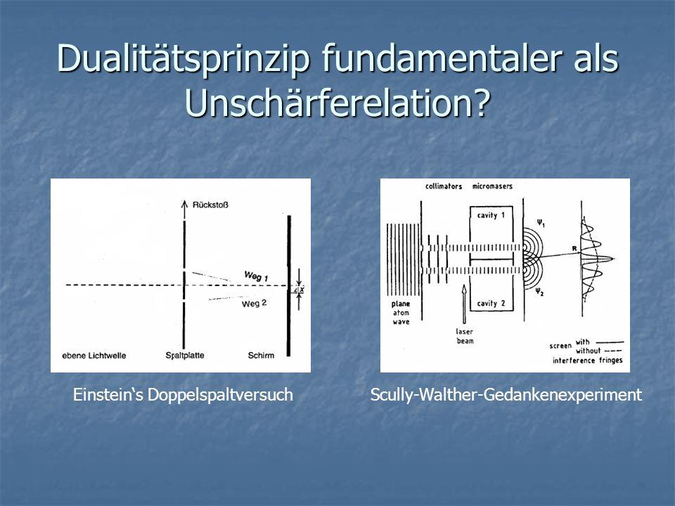 Dualitätsprinzip fundamentaler als Unschärferelation? Einsteins DoppelspaltversuchScully-Walther-Gedankenexperiment
